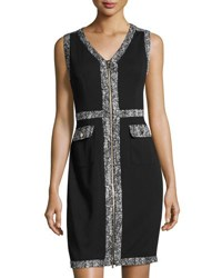 Karl Lagerfeld Two Way Zip Tweed Trim Sheath Dress Black
