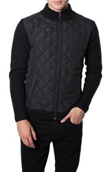 Men's 7 Diamonds 'Gatti' Quilted Panel Lambswool Knit Jacket Black
