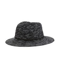 Vince Camuto Cotton Slub Yarn Pattern Hat Black
