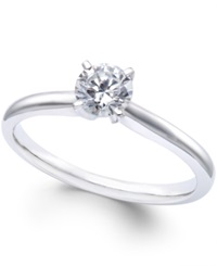 Macy's Diamond Solitaire Engagement Ring In 14K White Gold 1 2 Ct. T.W. No Color