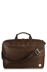 Knomo London Brompton Newberry Leather Briefcase Brown