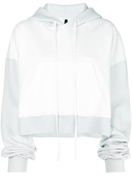 Unravel Project Cropped Colour Block Hoodie White
