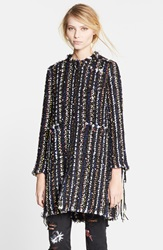 Msgm Embroidered Heavy Tweed Coat With Fringe Black Multi