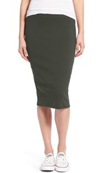 Junior Women's Painted Threads Knit Midi Skirt Olive