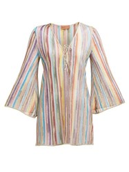 Missoni Mare Striped Lace Up Knitted Mesh Dress Multi