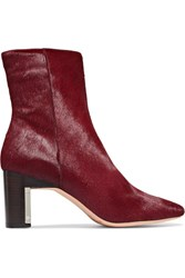 Rosetta Getty Calf Hair Ankle Boots Claret