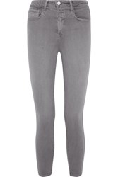 L'agence The Margot Cropped High Rise Skinny Jeans Gray
