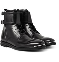 Alexander Mcqueen Buckled Leather Boots Black