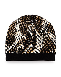 Diane Von Furstenberg Python Print Knit Hat Black Brown