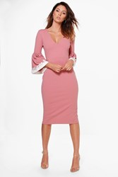Boohoo Crochet Frill Sleeve Fitted Midi Dress Rose
