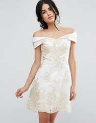 Chi Chi London A Line Dress In Metallic Lace Embroidery Cream Gold