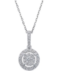 Macy's Diamond Circle Pendant Necklace In 14K White Gold 1 3 Ct. T.W.