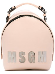 Msgm Logo Front Backpack Nude Neutrals