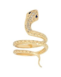 Iconery 14K Yellow Gold Snake Ring With Diamonds White Blue