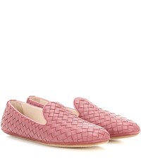 Bottega Veneta Intrecciato Leather Slip On Loafers Pink