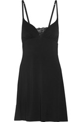 Cosabella Talco Lace Paneled Stretch Jersey Chemise Black