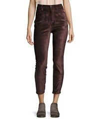 Free People Velvet High Waist Skinny Jeans Cocoa