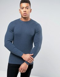 New Look Ribbed Muscle Fit Jumper With Crew Neck In Blue Blue