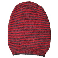 Hortensia Handmade Jay Striped Beanie Charcoal Red