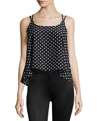 Romeo And Juliet Couture Chiffon Polka Dot Tank Black White
