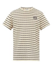 Loewe Anagram Embroidered Striped Cotton T Shirt Navy White