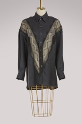 C Line Twill Shirt With Lace Details Black