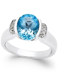 Macy's Blue Topaz 2 3 4 Ct. T.W. And Diamond Accent Ring In Sterling Silver
