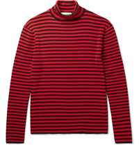 Gucci Striped Cotton Rollneck Sweater Red