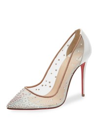 Christian Louboutin Follies Strass 100Mm Red Sole Pump White Nude