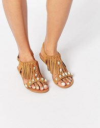 New Look Shell Fringe Sandals Tan