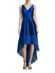 Monique Lhuillier Lace Trim Hi Lo Dress Cobalt