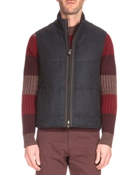 Berluti Leather Placket Quilted Vest Charcoal