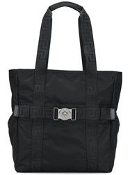 Versace Greca Ribbon Tote Bag Black