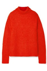 Marni Ribbed Mohair Blend Turtleneck Sweater Red