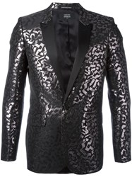 Garcons Infideles Damask Metallic Blazer Men Polyester Viscose 52 Black
