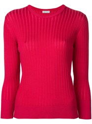 Estnation Ribbed Round Neck Sweater Women Cotton 38 Red