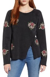 Lucky Brand Floral Embroidered Sweatshirt Lucky Black
