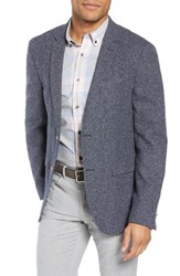 Sand Trim Fit Silk Blend Blazer Grey