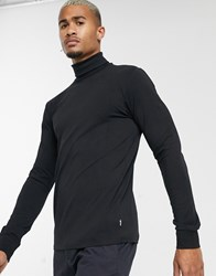Only And Sons Long Sleeve Jersey Roll Neck In Black