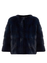 Lilly E Violetta Bomber Collarless Mink Fur Jacket Blue White