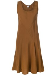 Aspesi Sleeveless Pleated Detail Dress Brown