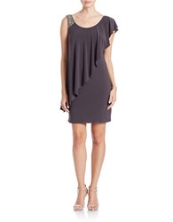Betsy And Adam Embellished Asymmetrical Overlay Dress Earth Taupe