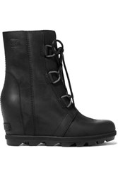 Sorel Joan Of Arctic Wedge Ii Waterproof Leather And Rubber Ankle Boots Black
