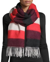 Rag And Bone Wide Stripe Brushed Blanket Scarf Fiery Red