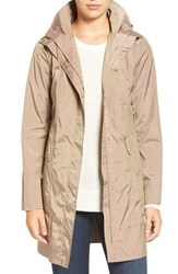 Cole Haan Signature Women's Back Bow Packable Hooded Raincoat Champagne