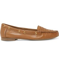 Dune Goffy Woven Leather Moccasins Tan Leather