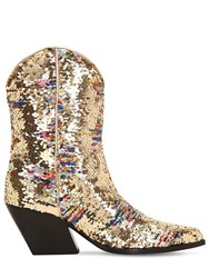 Elena Iachi 70Mm Sequined Leather Cowboy Boots Gold