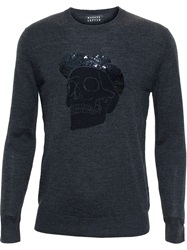 Markus Lupfer Skull Jumper With Sequin Cap Grey
