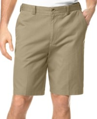 Geoffrey Beene Big And Tall Extender Waist Flat Front Shorts Khaki