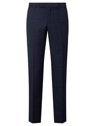 John Lewis Wool Check Tailored Fit Suit Trousers Navy